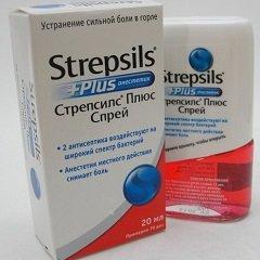 Стрепсилс плюс спрей 20 мл цена 399 руб в Москве, купить Стрепсилс плюс спрей 20 мл инструкция по применению, отзывы в интернет аптеке